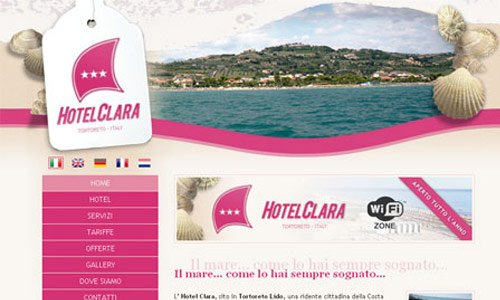 Hotel Clara-传导网络-粉色系网页设计